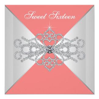 Elegant Diamonds Coral Sweet 16 Birthday Party Personalized Invites