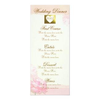 Elegant DIY Wedding Menu |  Pink Edge Rose Set 10 Cm X 24 Cm Invitation Card