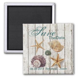 elegant dock wood seashells beach save the date refrigerator magnets