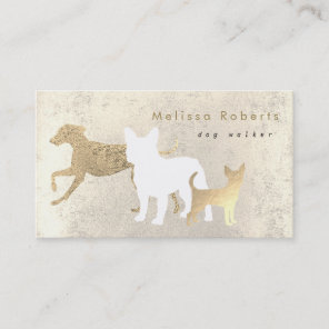 elegant dogs silhouettes dog walker business card