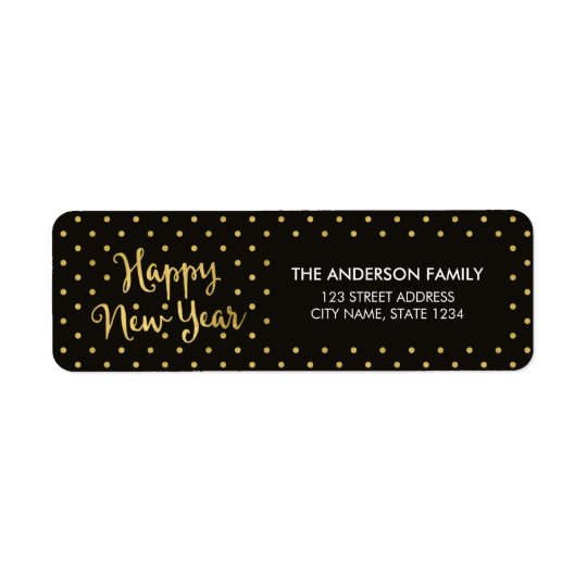 Elegant Dots Faux Gold Happy New Year Address