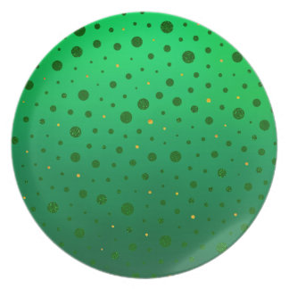 Elegant Dots - Green Gold - St Patrick's Day Plate