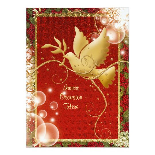 Elegant Dove peace swirls christmas party Card