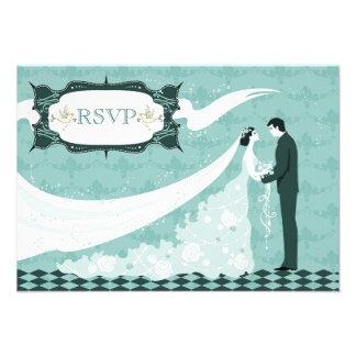 Elegant Doves Bride Groom RSVP Wedding Custom Invitation
