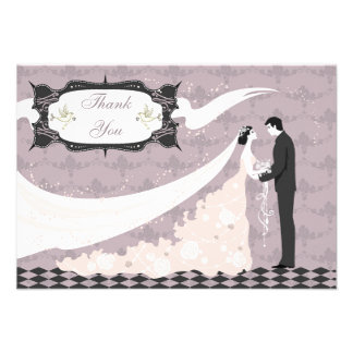 Elegant Doves Bride Groom Thank You Custom Announcements