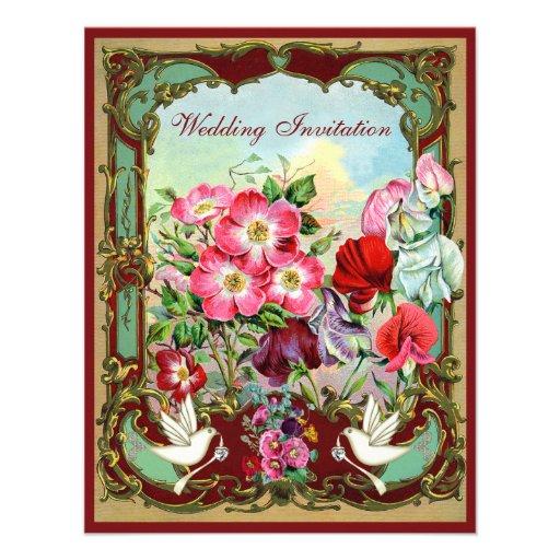 Elegant Doves & Vintage Flowers Wedding Invitations
