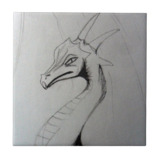 Elegant Dragon Drawing (dark) Small Square Tile