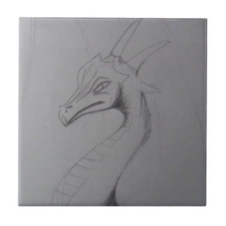 Elegant Dragon Drawing Small Square Tile