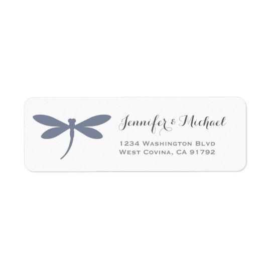 Elegant Dragonfly Label Template | Steel Blue Grey Return Address Label