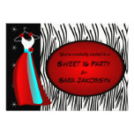 Elegant Dress With Zebra Print Party Invitation