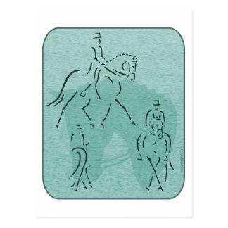 Elegant Dressage Horse Design in Teal Postcard