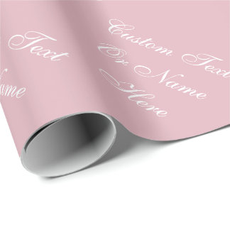 Elegant Dried Rose Pink & White Custom Name Text Wrapping Paper