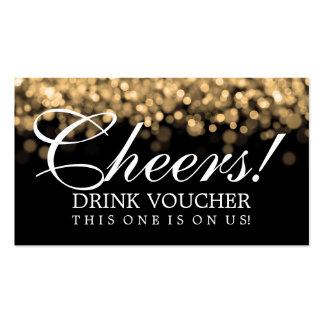 Elegant Drink Voucher Gold Lights Business Card