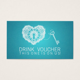 Elegant Drink Voucher Key To My Heart Turquoise Business Card