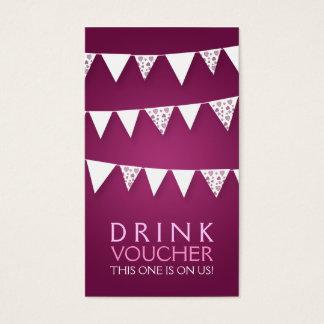 Elegant Drink Voucher Love Bunting Monogram Pink Business Card