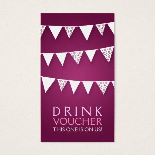 Elegant Drink Voucher Love Bunting Monogram Pink Business