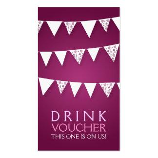 Elegant Drink Voucher Love Bunting Monogram Pink Pack Of Standard Business Cards