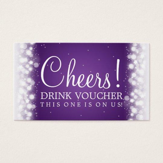 Elegant Drink Voucher Magic Sparkle Purple Business Card