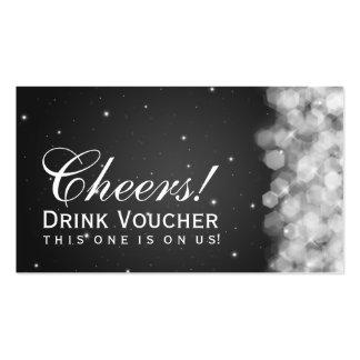 Elegant Drink Voucher Party Sparkle Black Pack Of Standard Business Cards