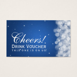 Elegant Drink Voucher Party Sparkle Blue Business Card