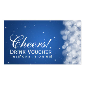 Elegant Drink Voucher Party Sparkle Blue Pack Of Standard Business Cards