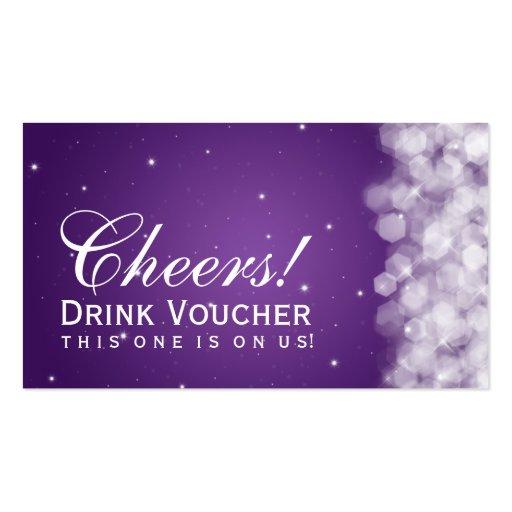 Elegant Drink Voucher Party Sparkle Purple Business Cards