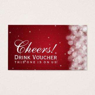 Elegant Drink Voucher Party Sparkle Red Business Card