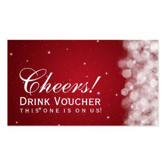 Elegant Drink Voucher Party Sparkle Red Pack Of Standard Business Cards