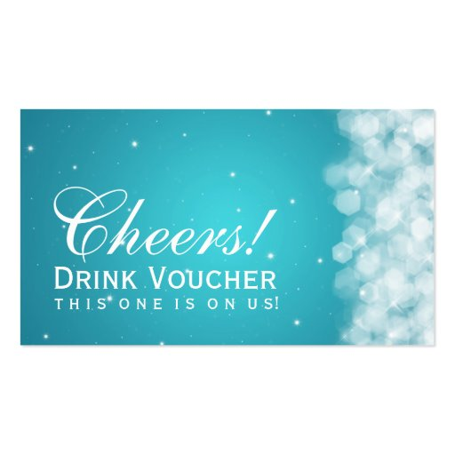 Elegant Drink Voucher Party Sparkle Turquoise Business Card Template