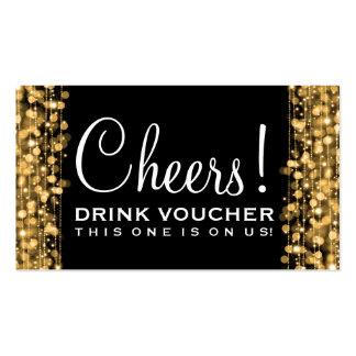Elegant Drink Voucher Party Sparkles Gold Pack Of Standard Business Cards