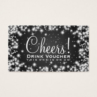 Elegant Drink Voucher Party Winter Sparkle Black Business Card