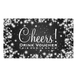 Elegant Drink Voucher Party Winter Sparkle Black Pack Of Standard Business Cards