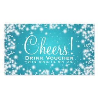 Elegant Drink Voucher Party Winter Sparkle Blue Pack Of Standard Business Cards