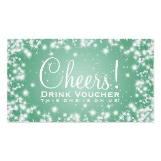 Elegant Drink Voucher Party Winter Sparkle Mint Pack Of Standard Business Cards