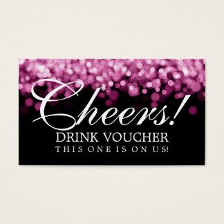 Elegant Drink Voucher Pink Lights Business Card