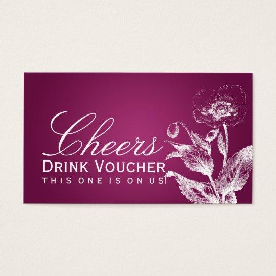 Elegant Drink Voucher Poppy Pink Berry Business Card