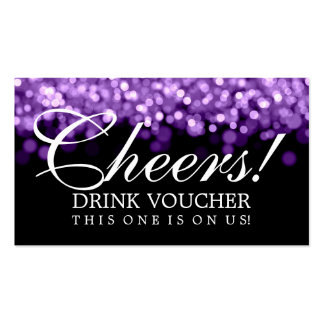 Elegant Drink Voucher Purple Lights Double-Sided Standard Business Cards (Pack Of 100)