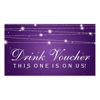 Elegant Drink Voucher Sparkling Lines Purple Pack Of Standard Business Cards