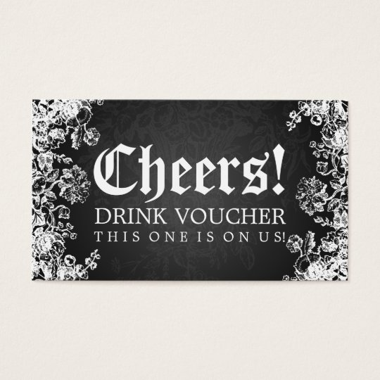 Elegant Drink Voucher Victorian Flourish Black Business Card