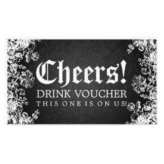 Elegant Drink Voucher Victorian Flourish Black Pack Of Standard Business Cards