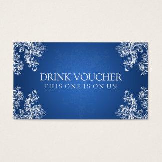 Elegant Drink Voucher Vintage Swirls 2 Sapphire Business Card