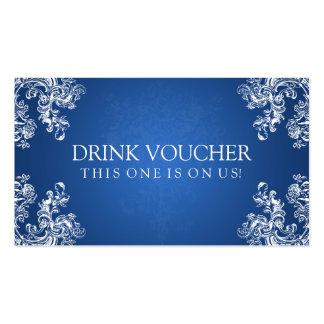 Elegant Drink Voucher Vintage Swirls 2 Sapphire Pack Of Standard Business Cards