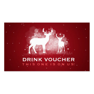 Elegant Drink Voucher Winter Deer Sparkle Red Double-Sided Standard Business Cards (Pack Of 100)