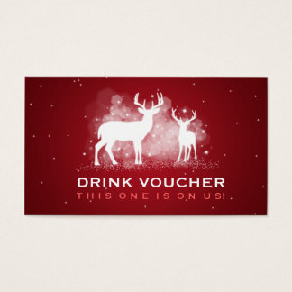 Elegant Drink Voucher Winter Deer Sparkle Red Business Card