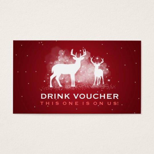 Elegant Drink Voucher Winter Deer Sparkle Red Business