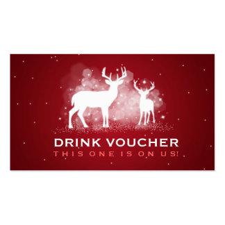 Elegant Drink Voucher Winter Deer Sparkle Red Pack Of Standard Business Cards