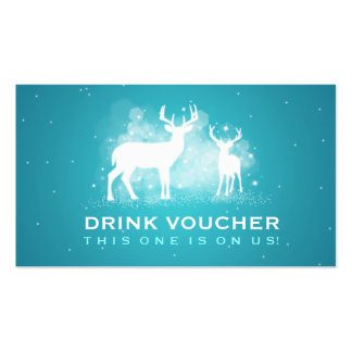 Elegant Drink Voucher Winter Deer Sparkle Turquois Double-Sided Standard Business Cards (Pack Of 100)