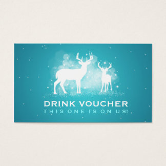 Elegant Drink Voucher Winter Deer Sparkle Turquois Business Card