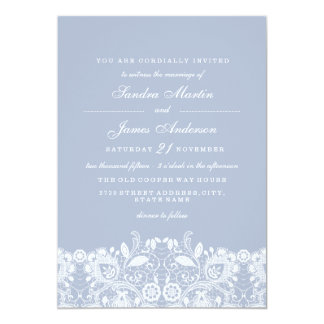 Elegant Dusty Blue White Lace Wedding Invite
