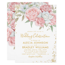 Elegant Dusty Pink Gold Floral Garden Wedding